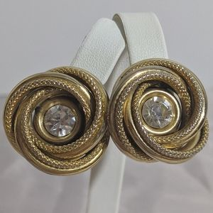 Vintage Gold Celtic Knot & Rhinestone Earrings